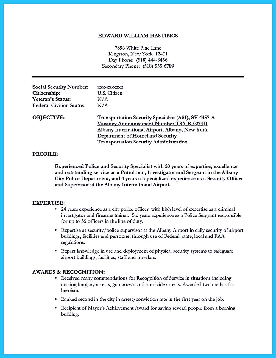 canada correctional officer resume