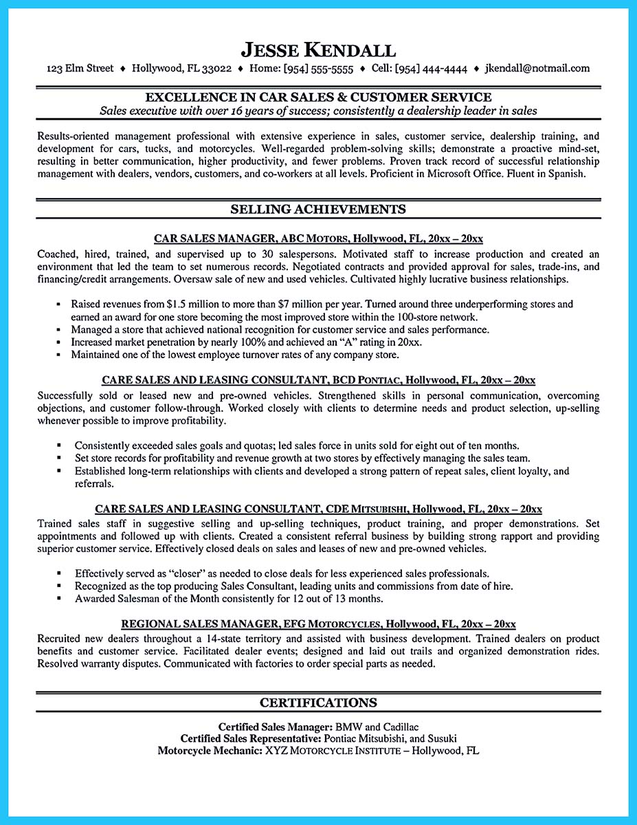 car salesman resume cover letter