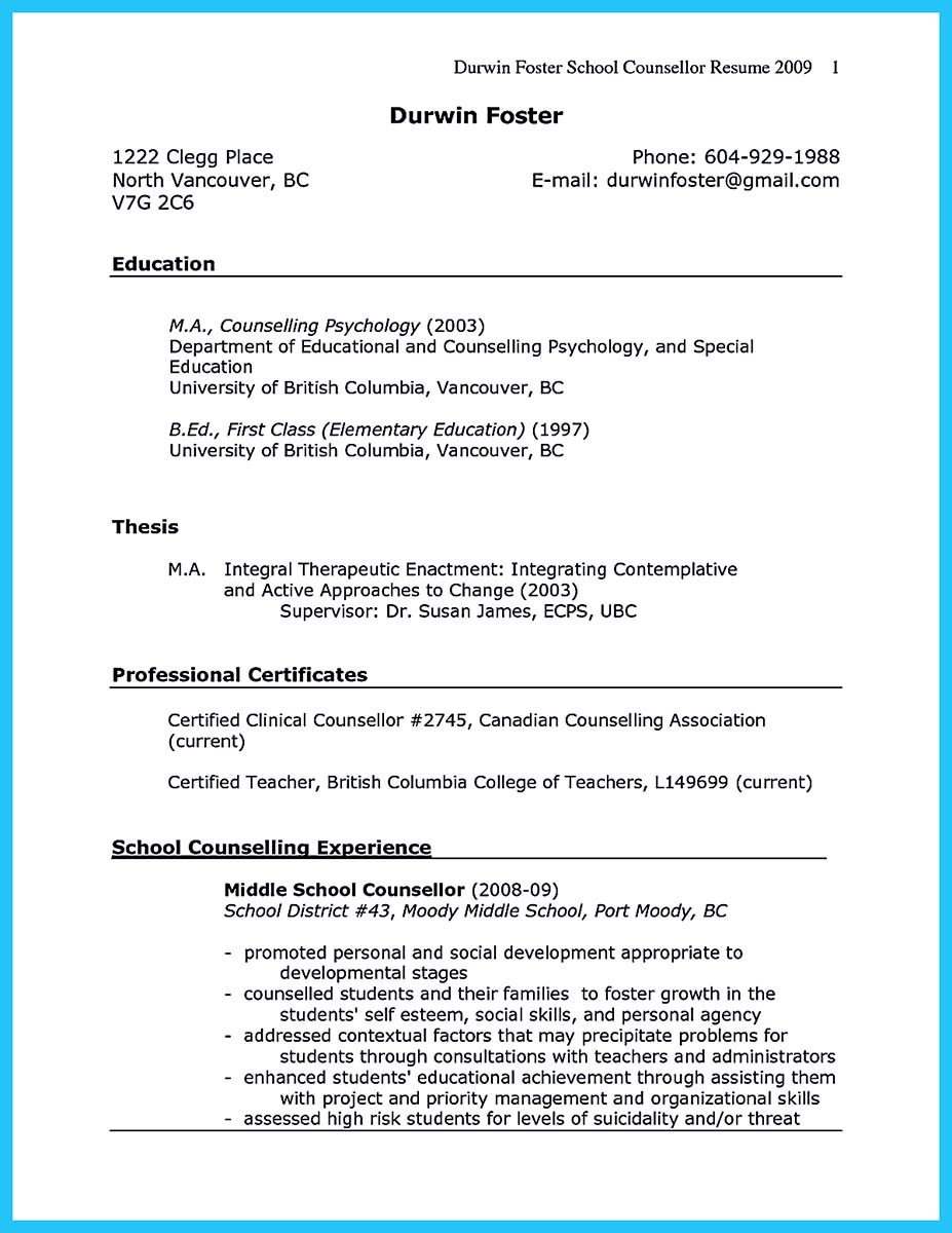 career counseling resume example