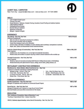 carpenter resume responsibilities