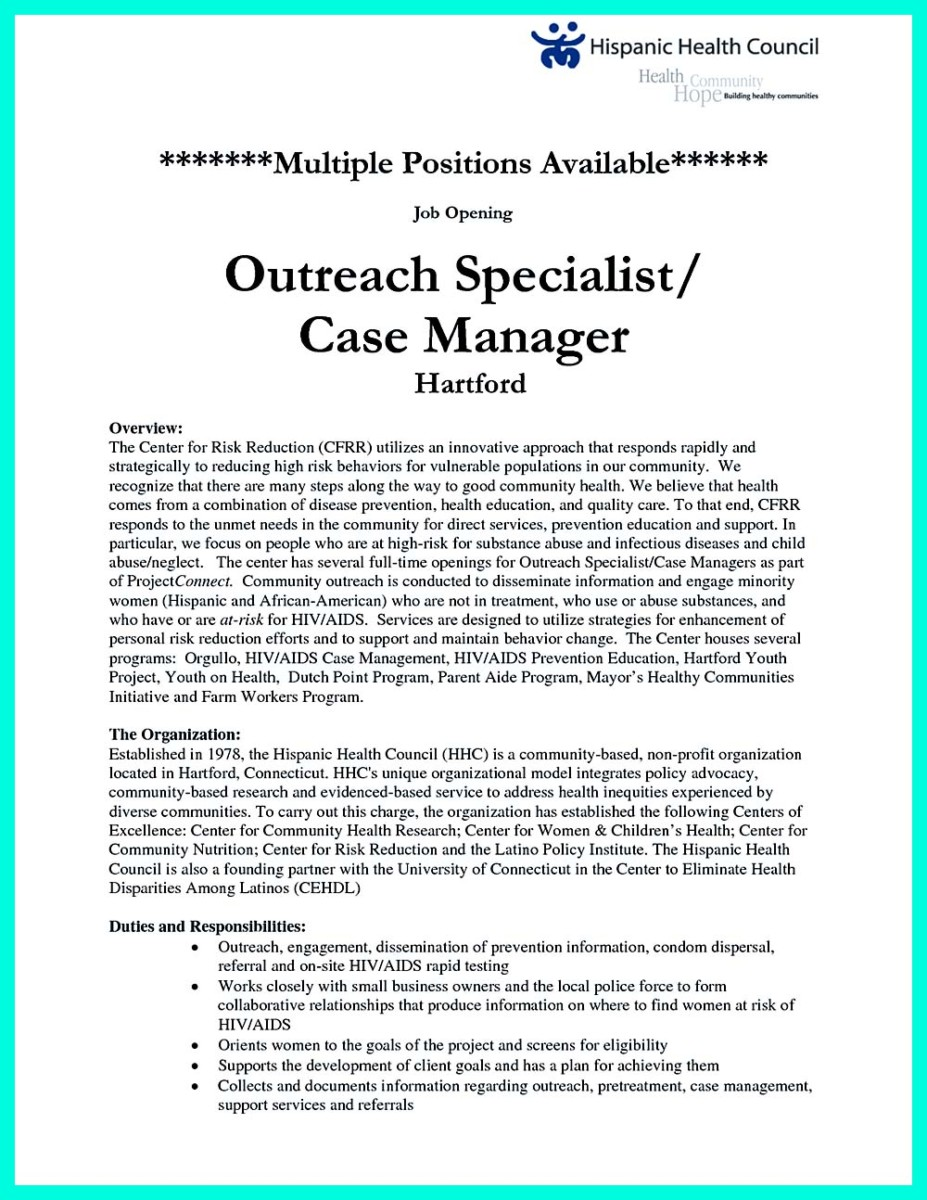Sample Cover Letter Of Case Manager  Case Management Resume