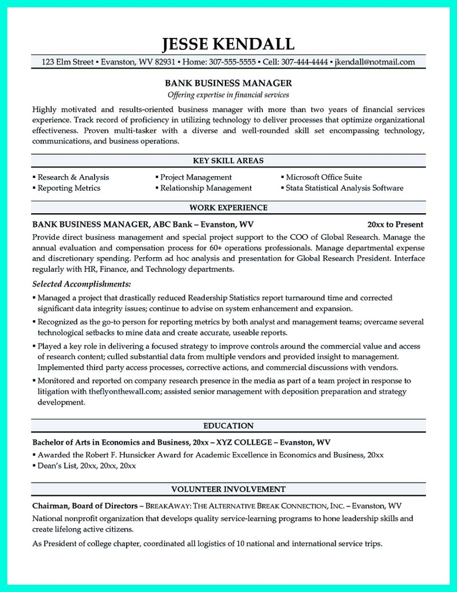 inspiring manager resume to be successful in gaining