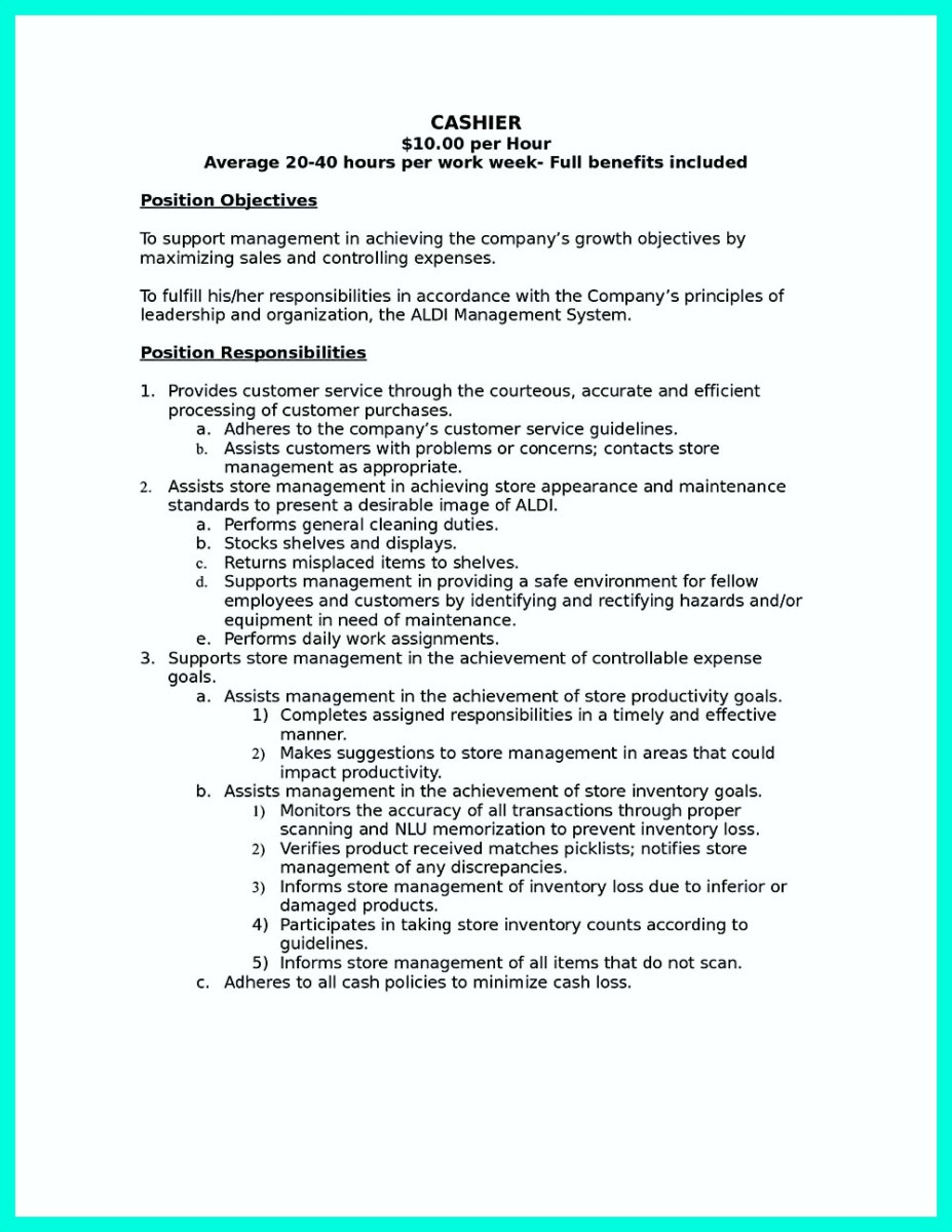 ... Job Responsibilities Resume Cashier Resume Sample And Cashier Skills  List For Resume ...  Job Skills List For Resume