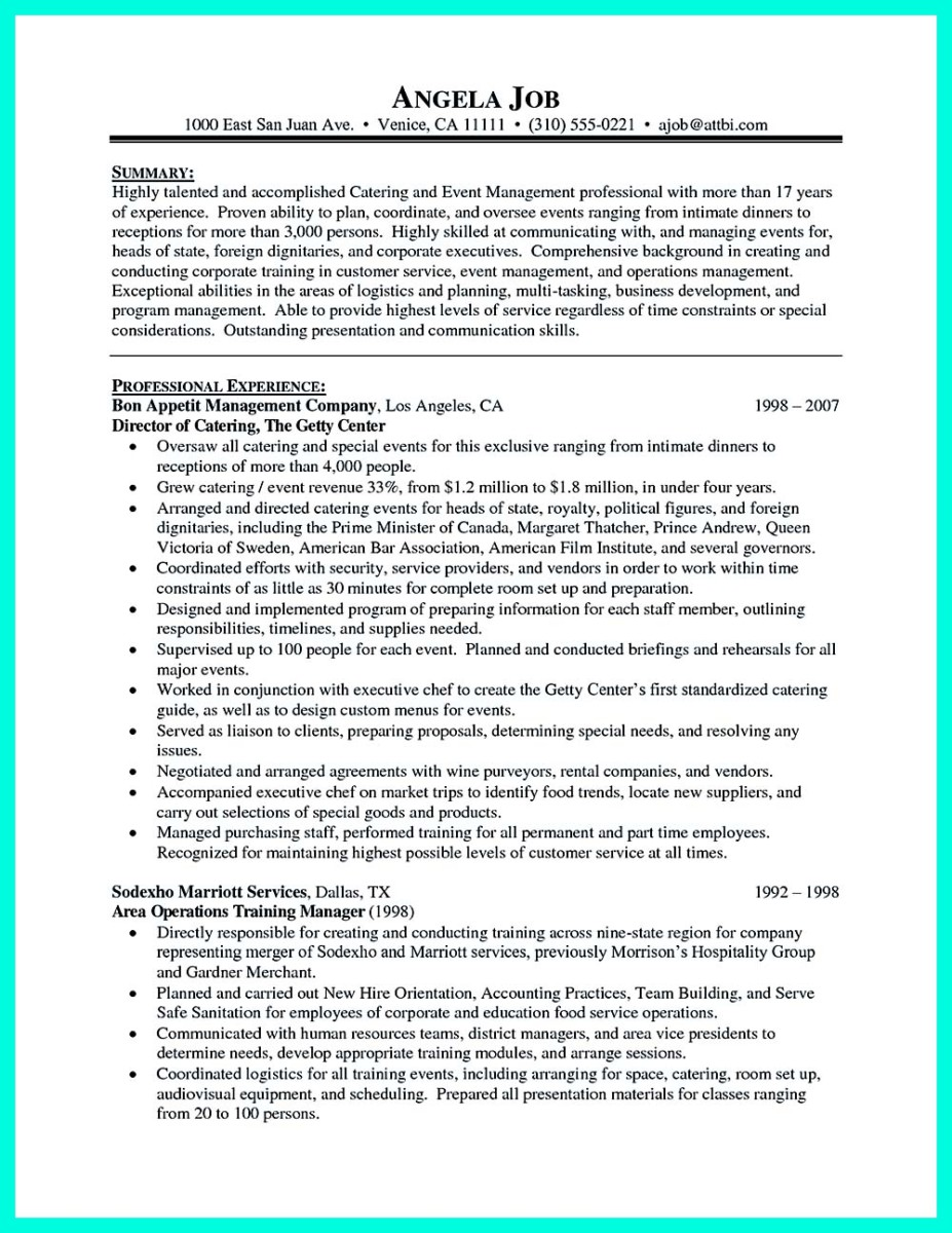 ... Catering Manager Job Description For Resume And Catering Sales Manager  Resume Objective ...  Catering Job Description For Resume