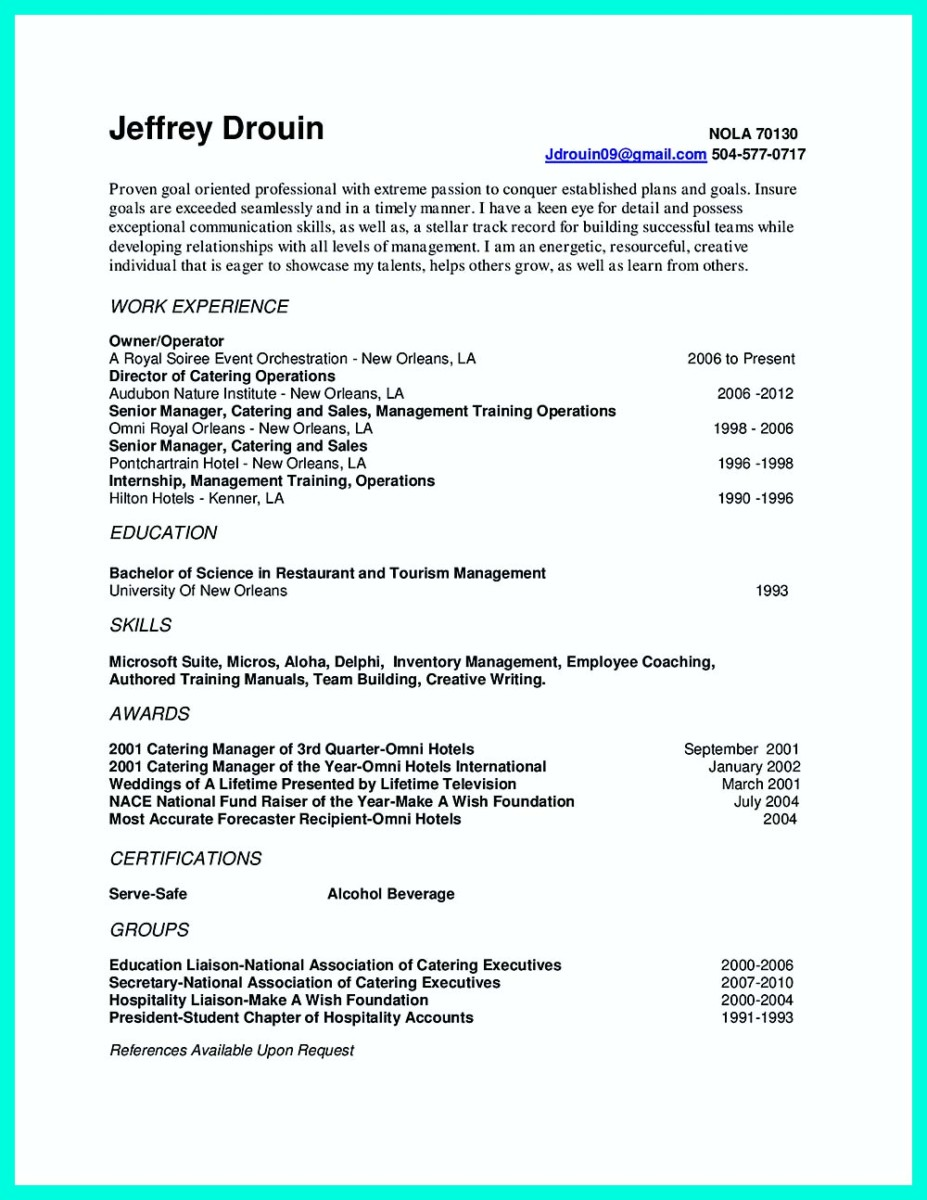 catering manager resume cover letter and catering manager resume format