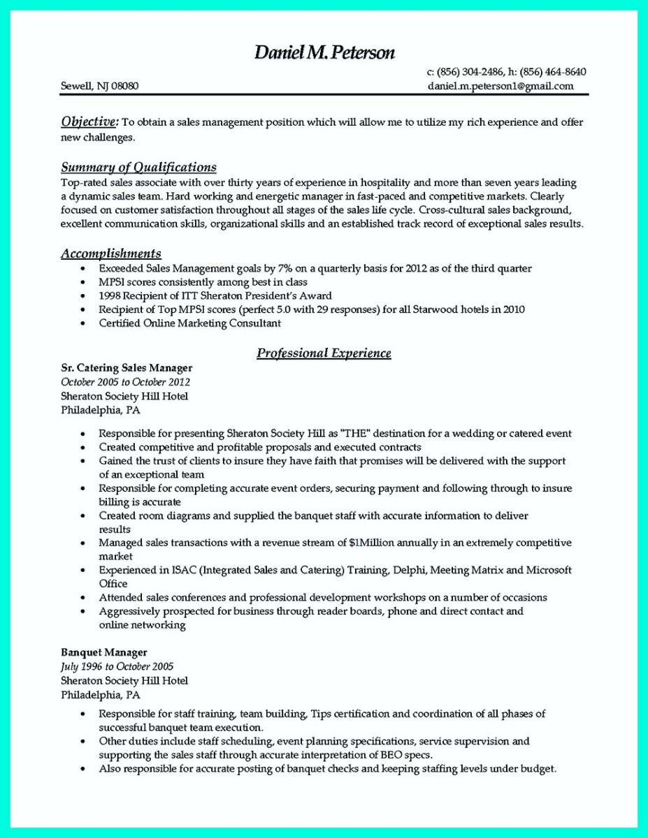 catering manager resume objective and catering manager job description resume