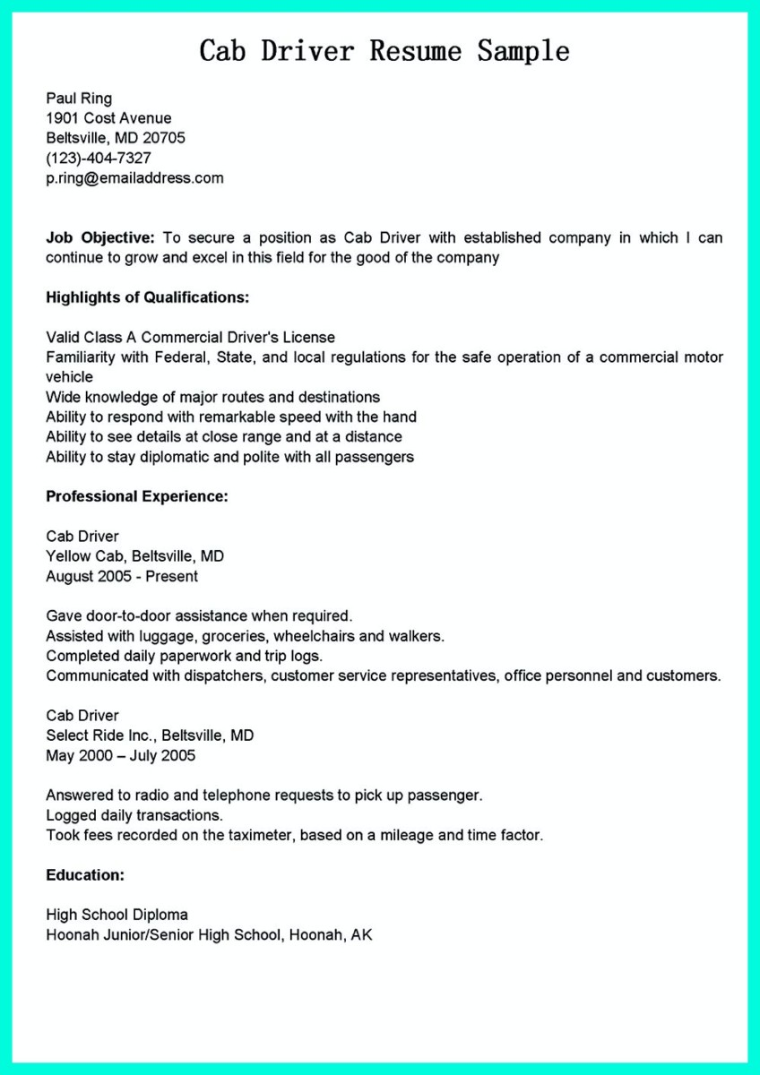 cdl driver resume cover letter and sample of cdl driver resume