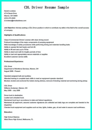 cdl driver resume example and resume sample for cdl driver