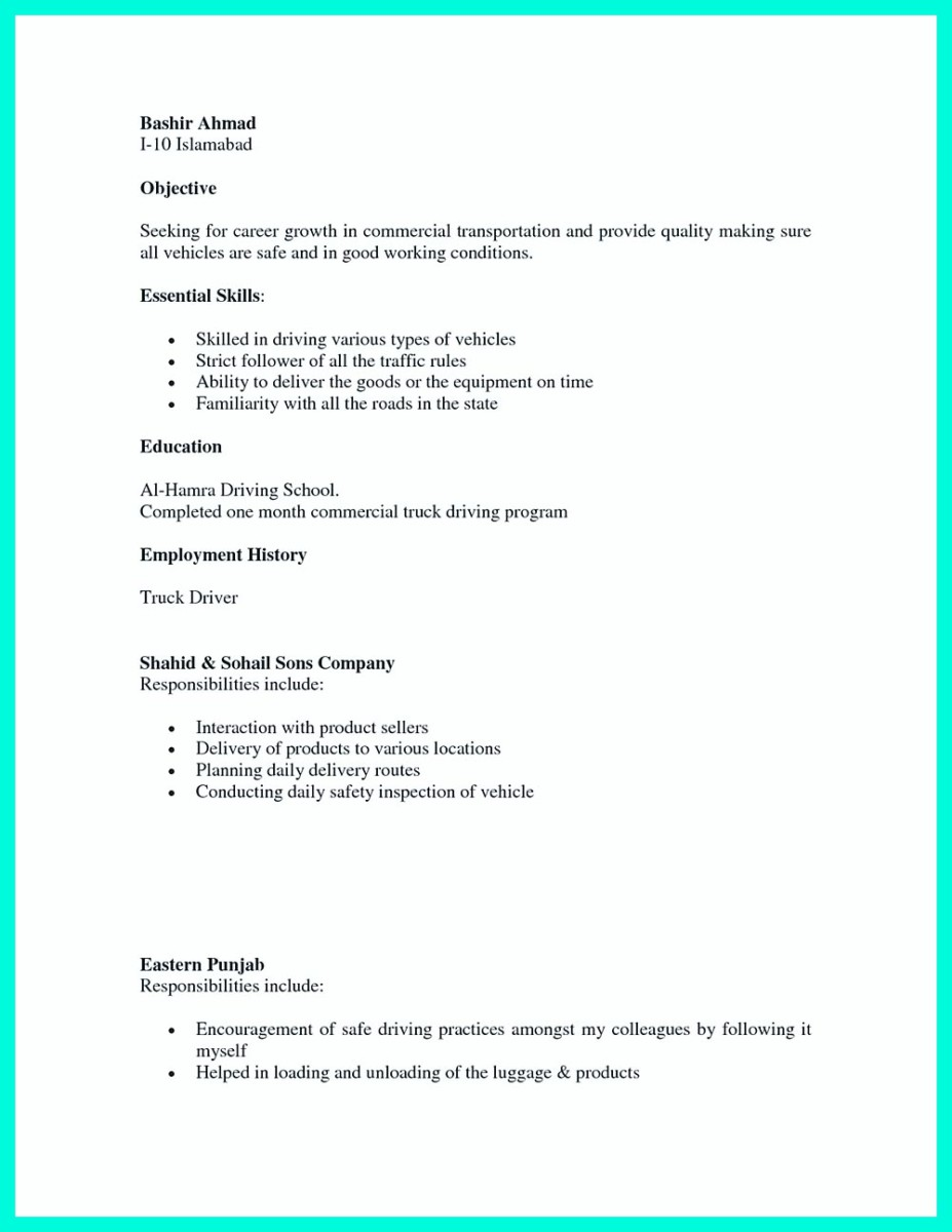 ... Cdl Driver Resume Examples And Objective For Cdl Driver Resume ...