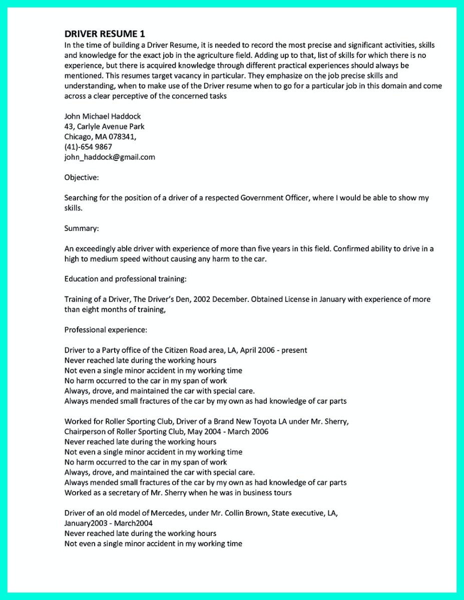 100+ [ Sample Resume Driver Position ] | Assayer Cover Letter ...