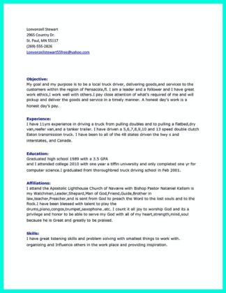 truck driver cv template resume samples class examples driving otr