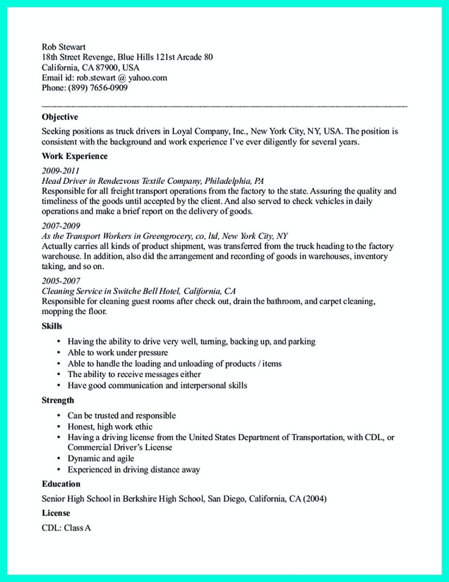 cdl driver resume templates and cdl driver job resume