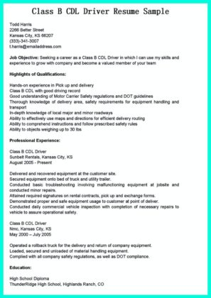 resume cdl driver resume templates class b cdl driver pin truck computx us - Sample Resume For Cdl Class A Driver