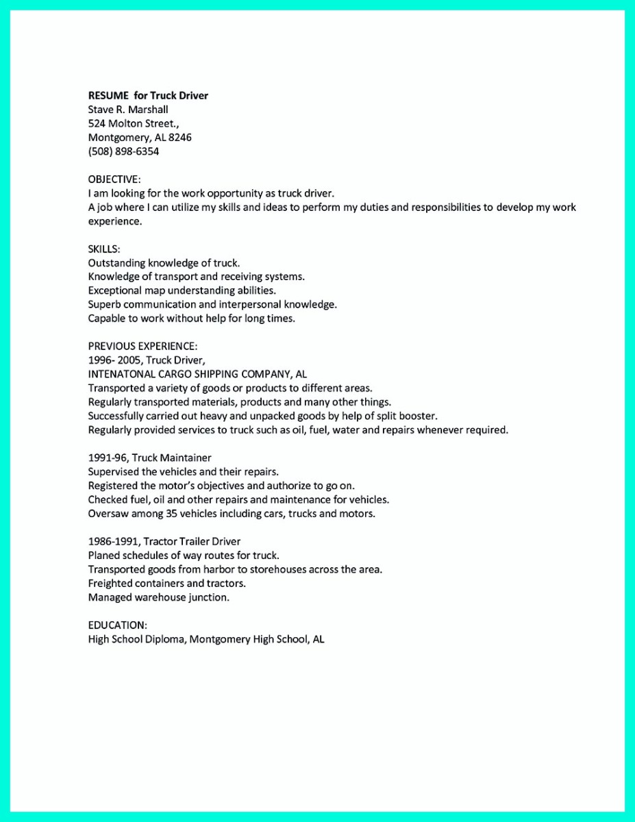 cdl truck driver resume sample and class a cdl driver resume sample