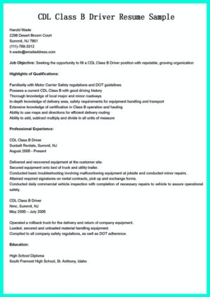 cdl truck driver resume samples and cdl truck driver resume examples