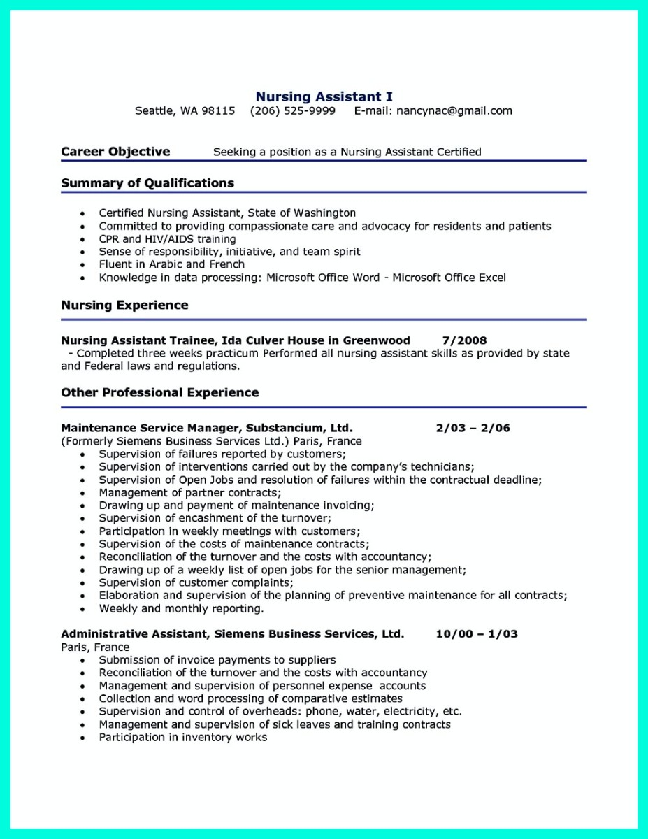 Impress the Employer with Great Certified Nursing Assistant Resume  %Image NameImpress the Employer with Great Certified Nursing Assistant Resume  %Image Name