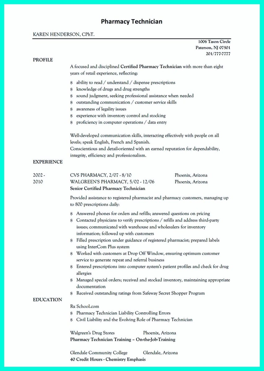 what objectives to mention in certified pharmacy technician resume image name