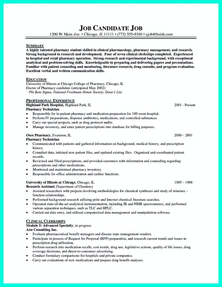 resume pharmacy tech - Resume For Pharmacy Tech