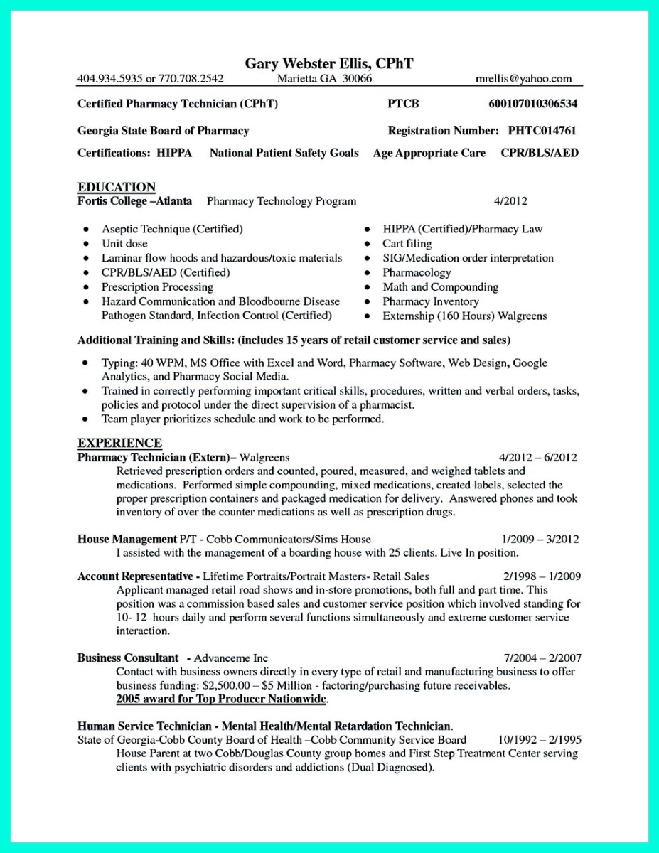 what objectives to mention in certified pharmacy technician resume - Sample Resume For Pharmacy Technician