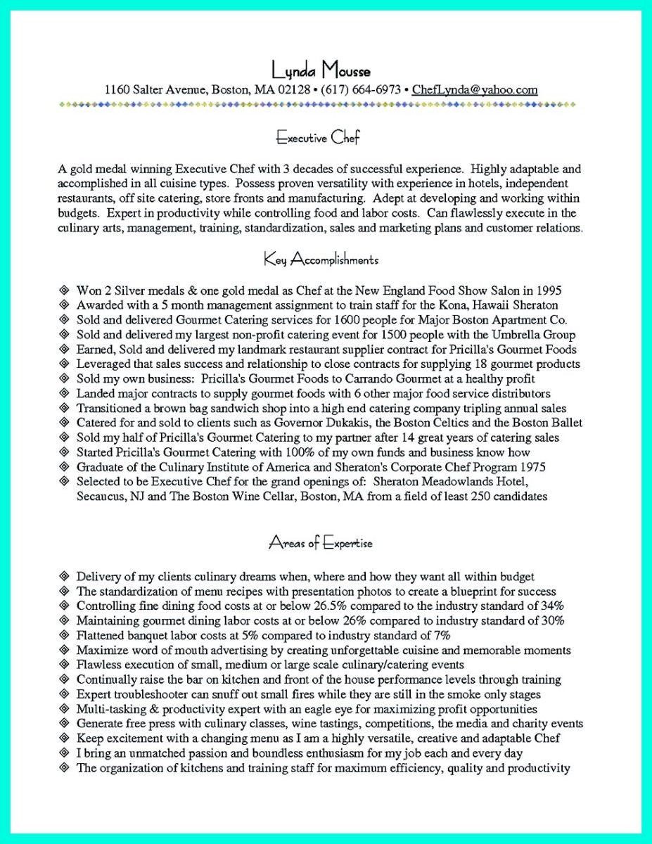 Sample Beginner Chef Resume Creating A Great Culinary Resume Creating A  Great Culinary Resume Your Make Resume Format.
