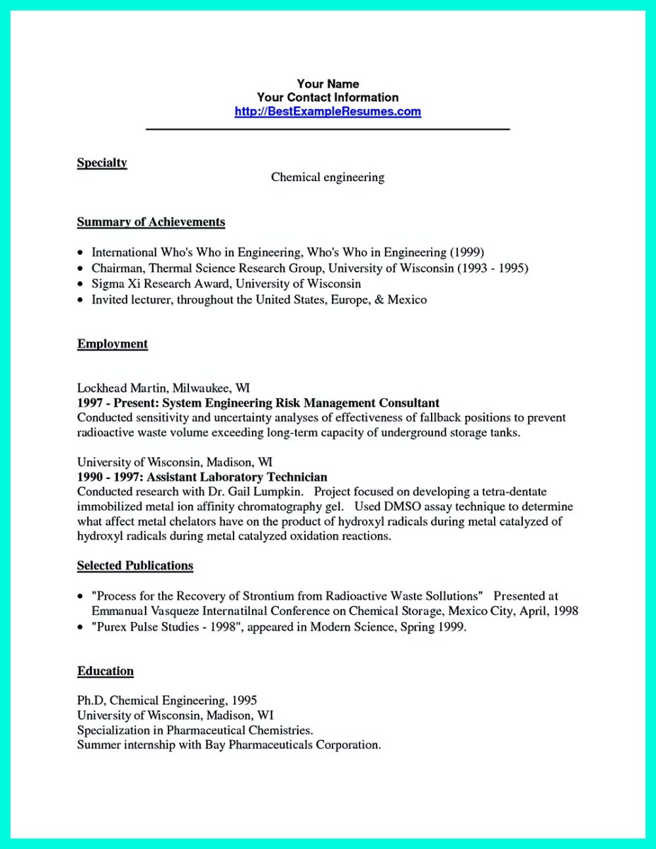 Chemical engineer CV sample - chemical engineer CV formats / templates