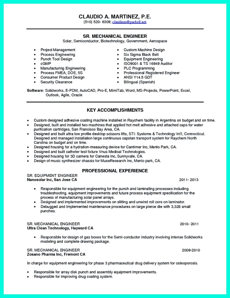 read artist resume template that look professional - Machine Design Engineer Sample Resume