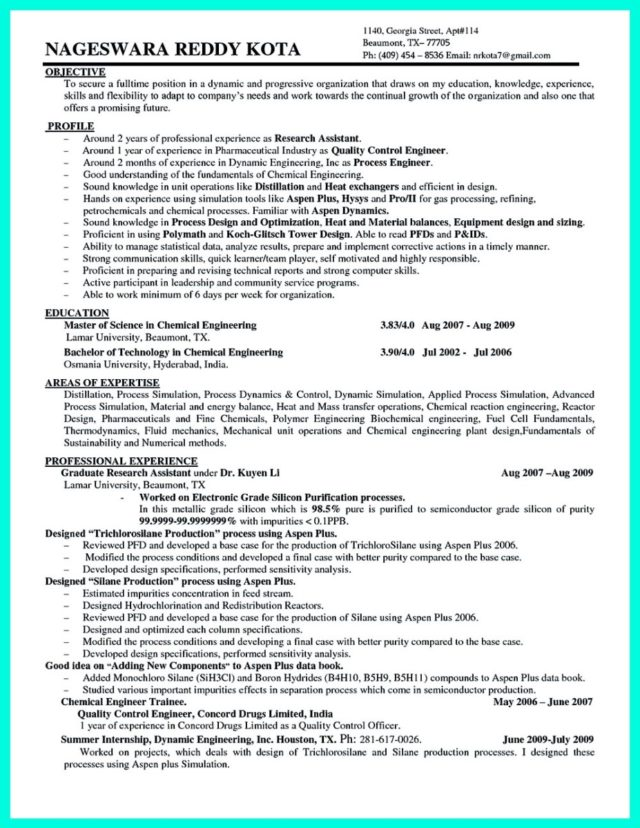 chemical process engineer resume sample and resume for chemical engineering
