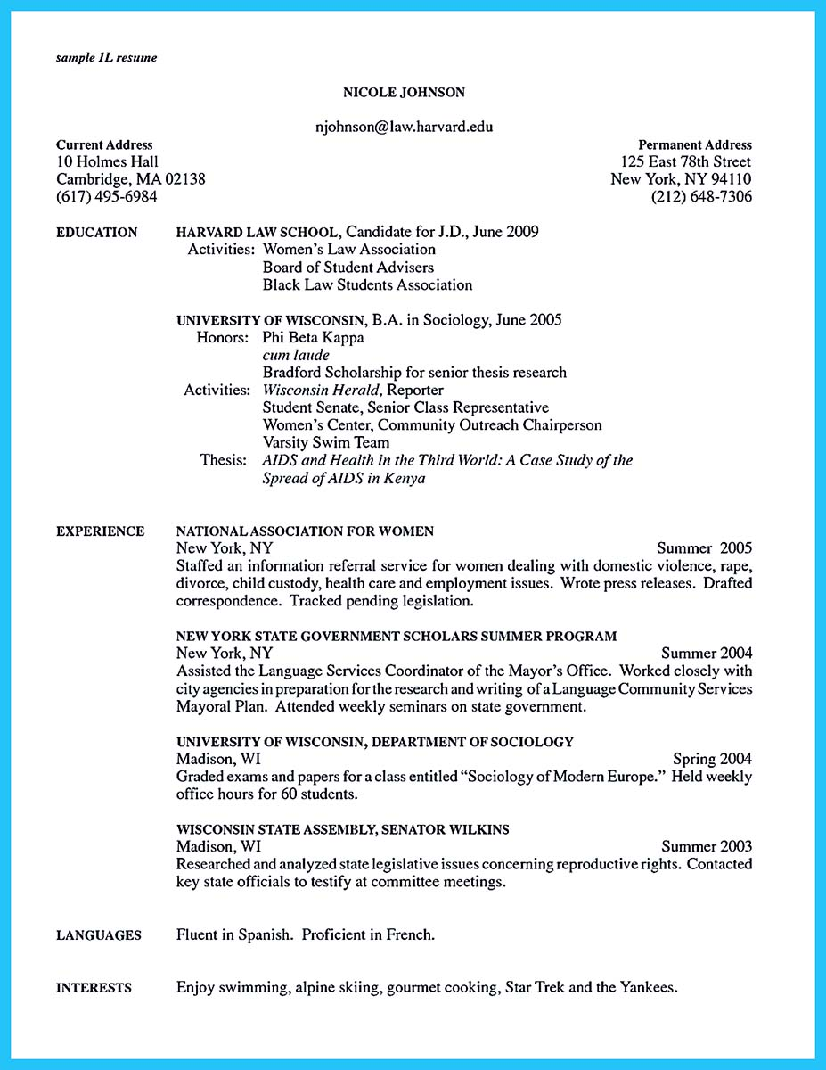 chicago business school resume template