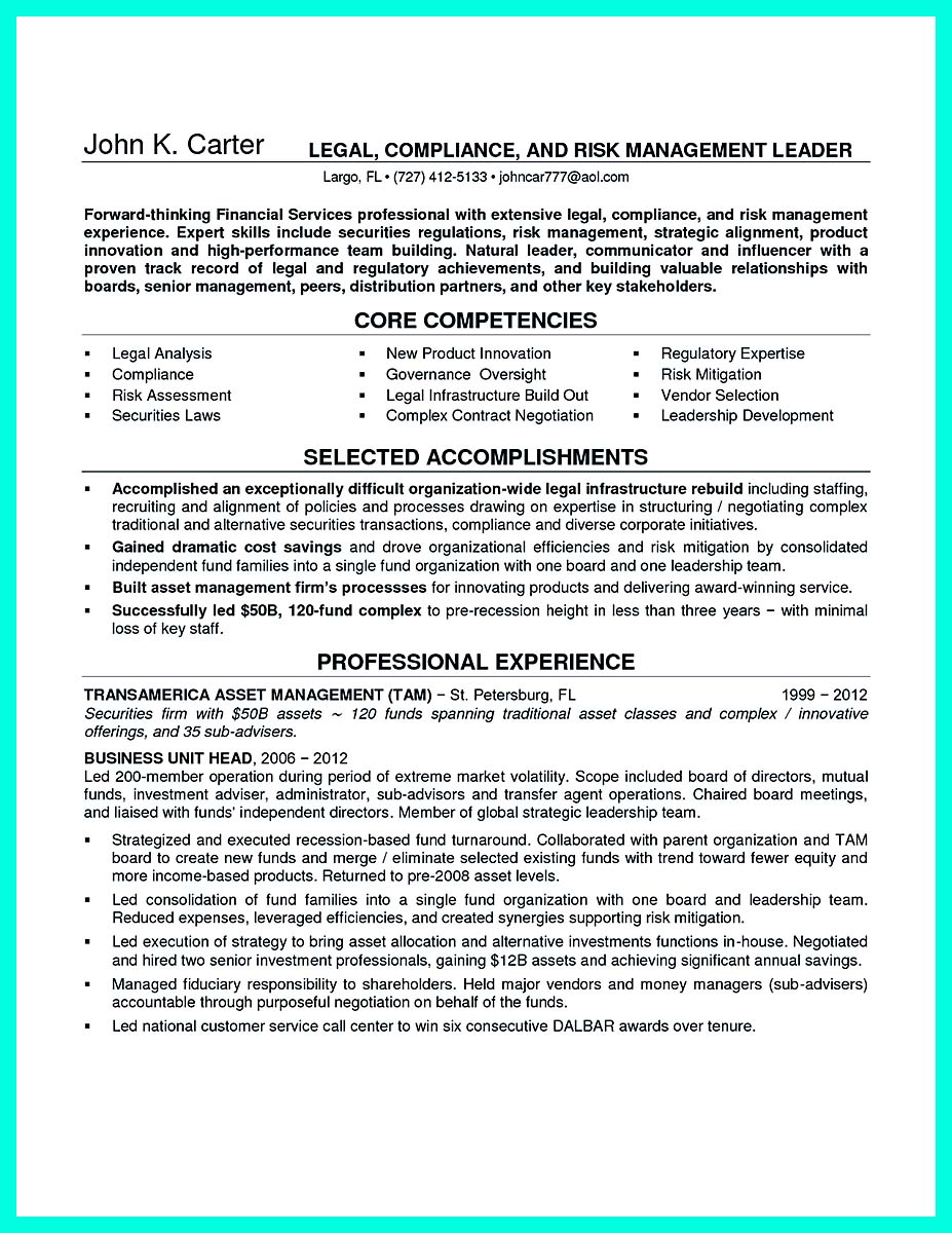 chief compliance officer resume objective
