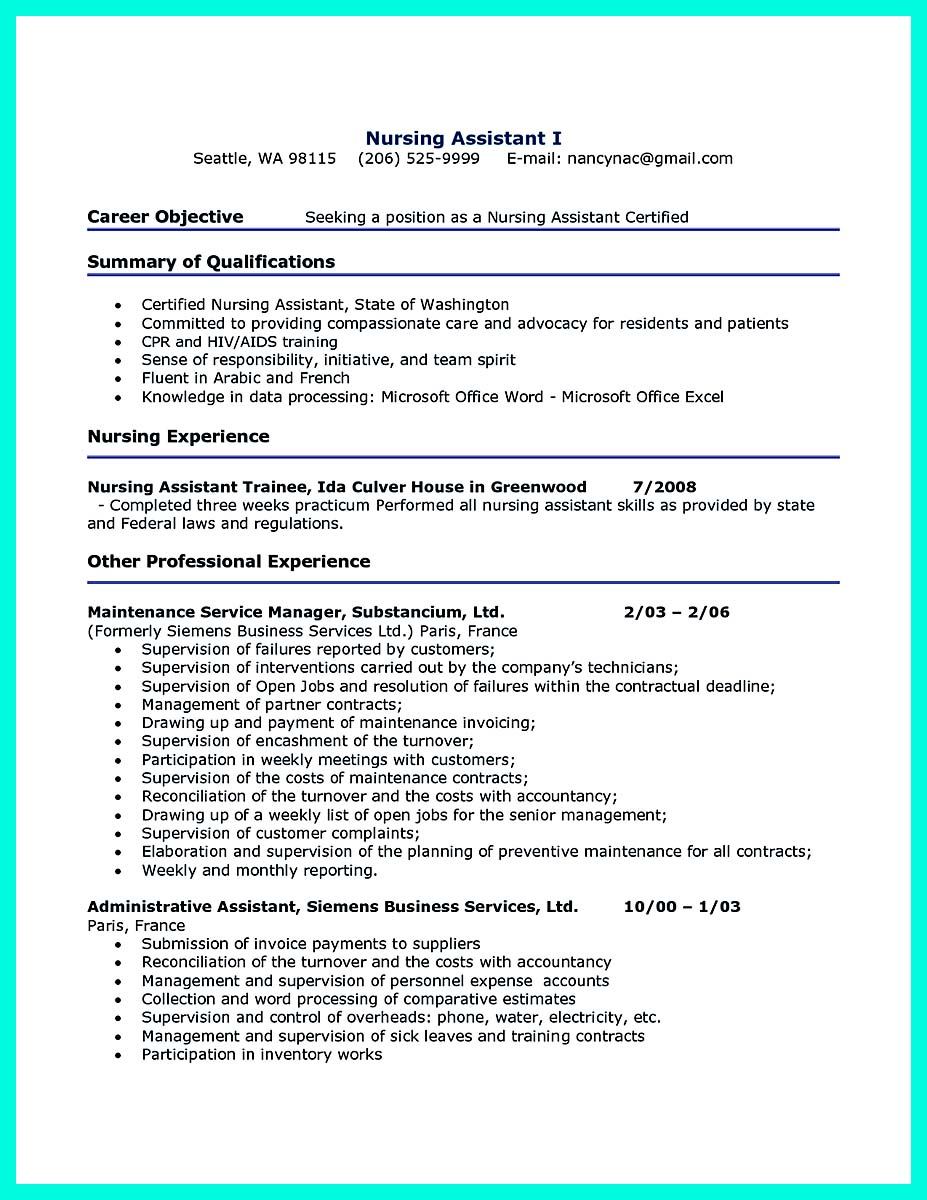 cna resume sample skills