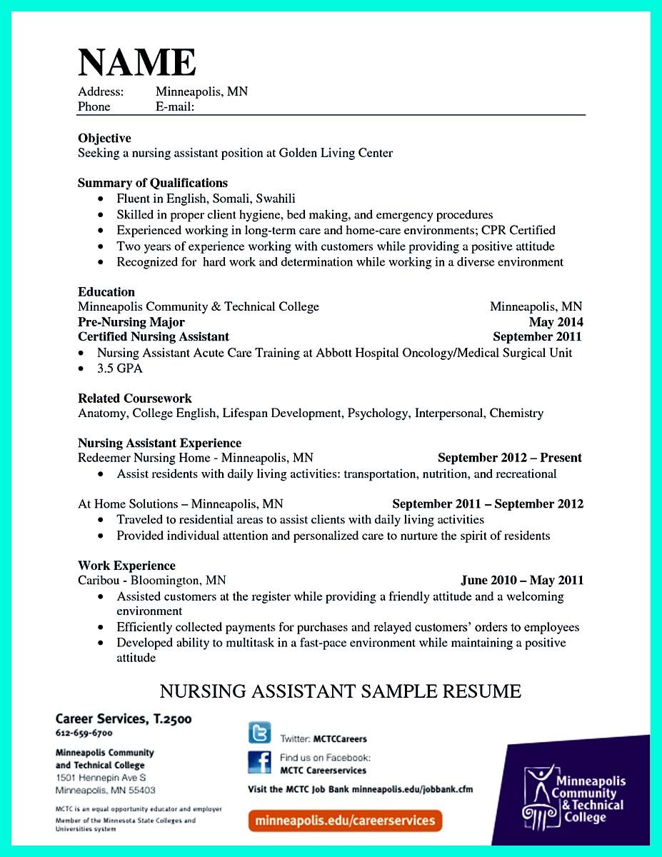 Resume Template For Cna  EczaSolinfCo