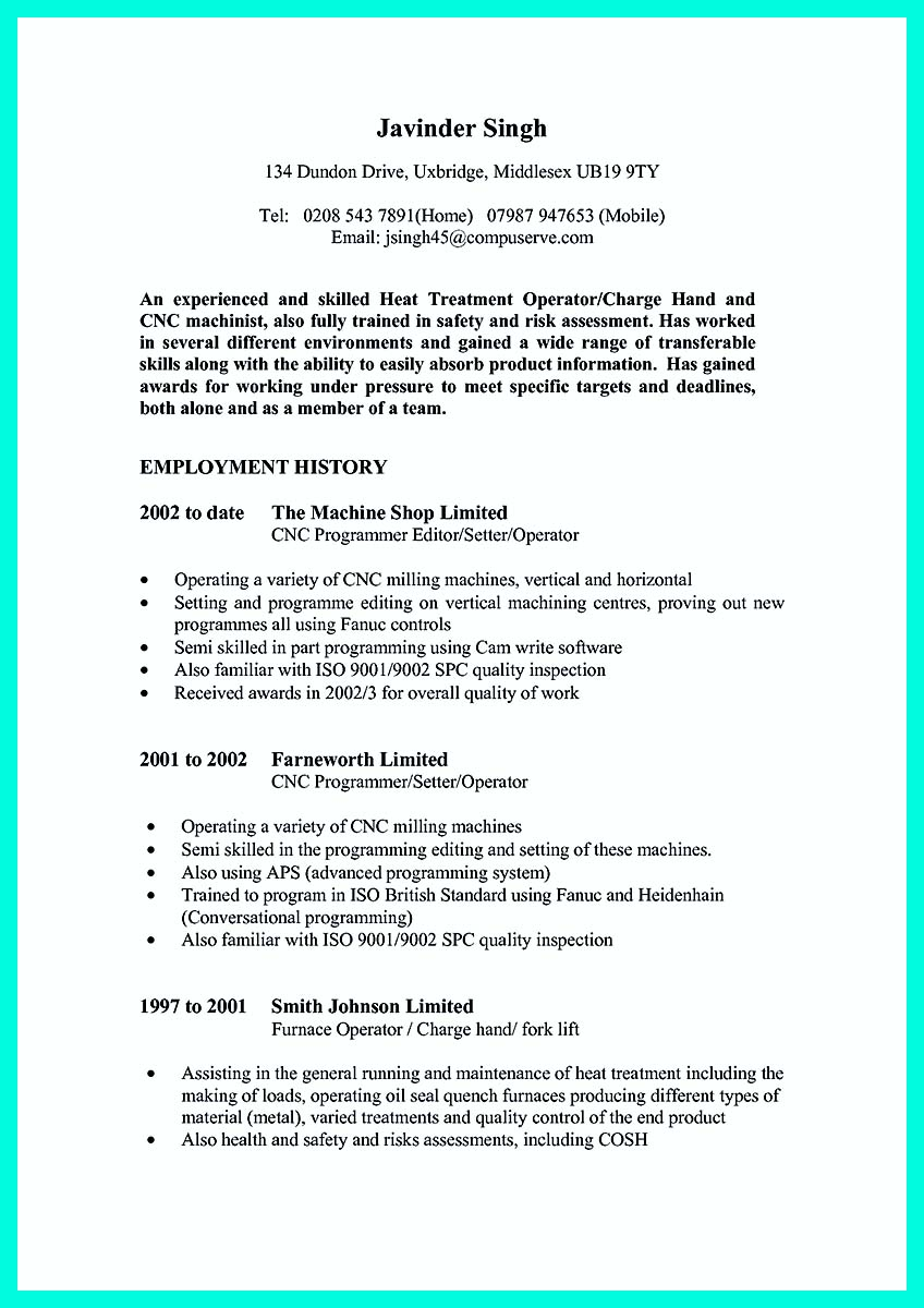 cnc machinist job description resume