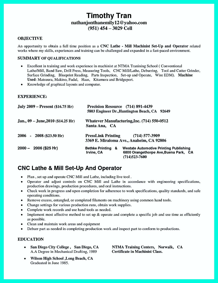 machinist resume samples - Cnc Machinist Resume