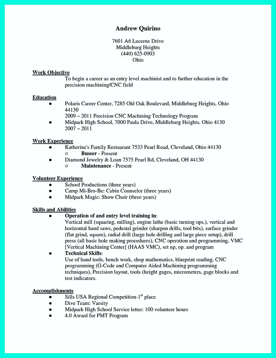 cnc machinist cover letter resume