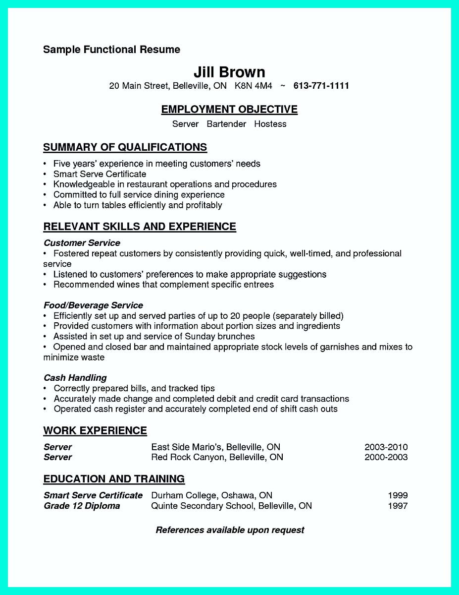 cocktail server job description resume