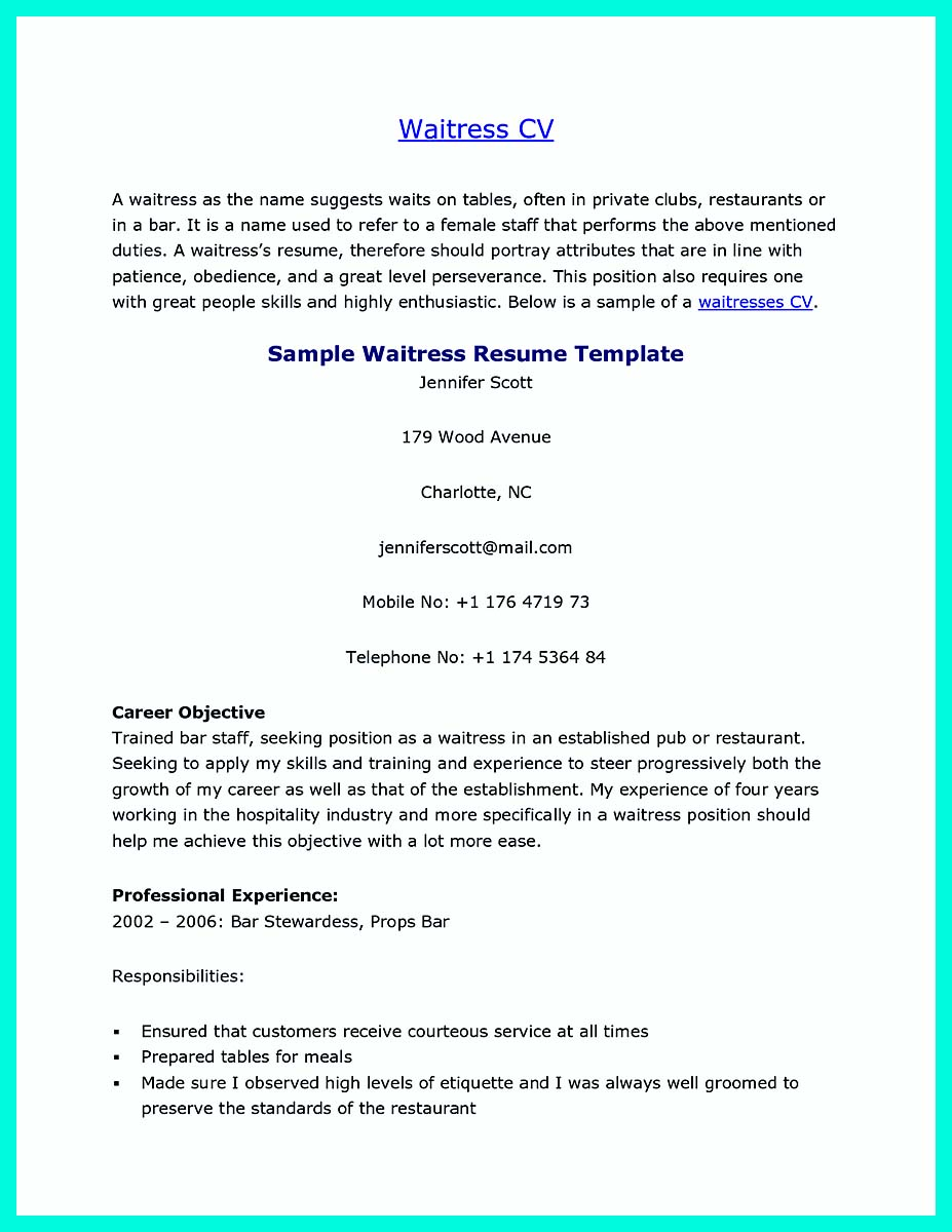 waitress resume sample resume template examples waitress example sample waitress resume aaa aero inc us
