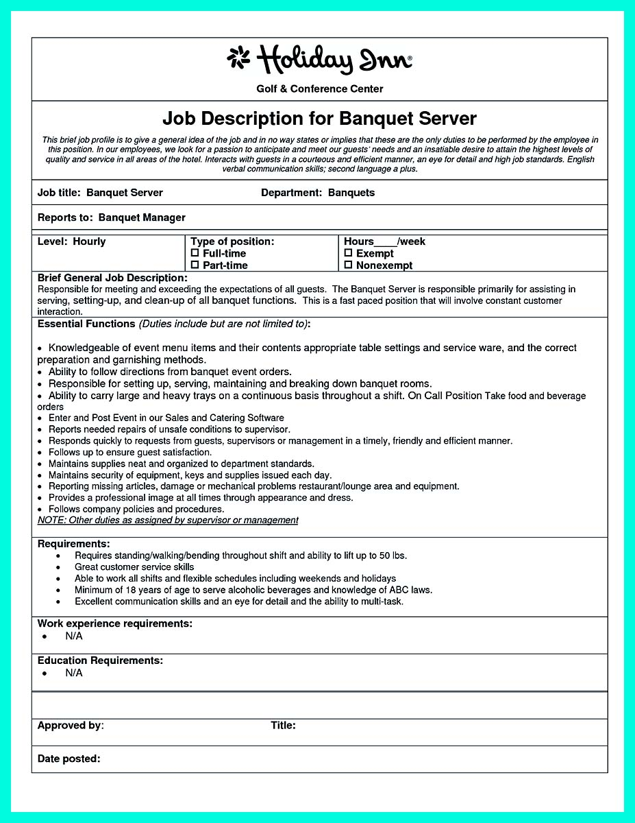 cocktail server resume skills to convince restaurants or caf u00e9