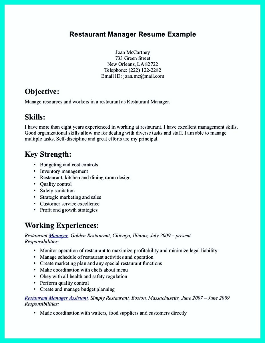 cocktail waitress on resume
