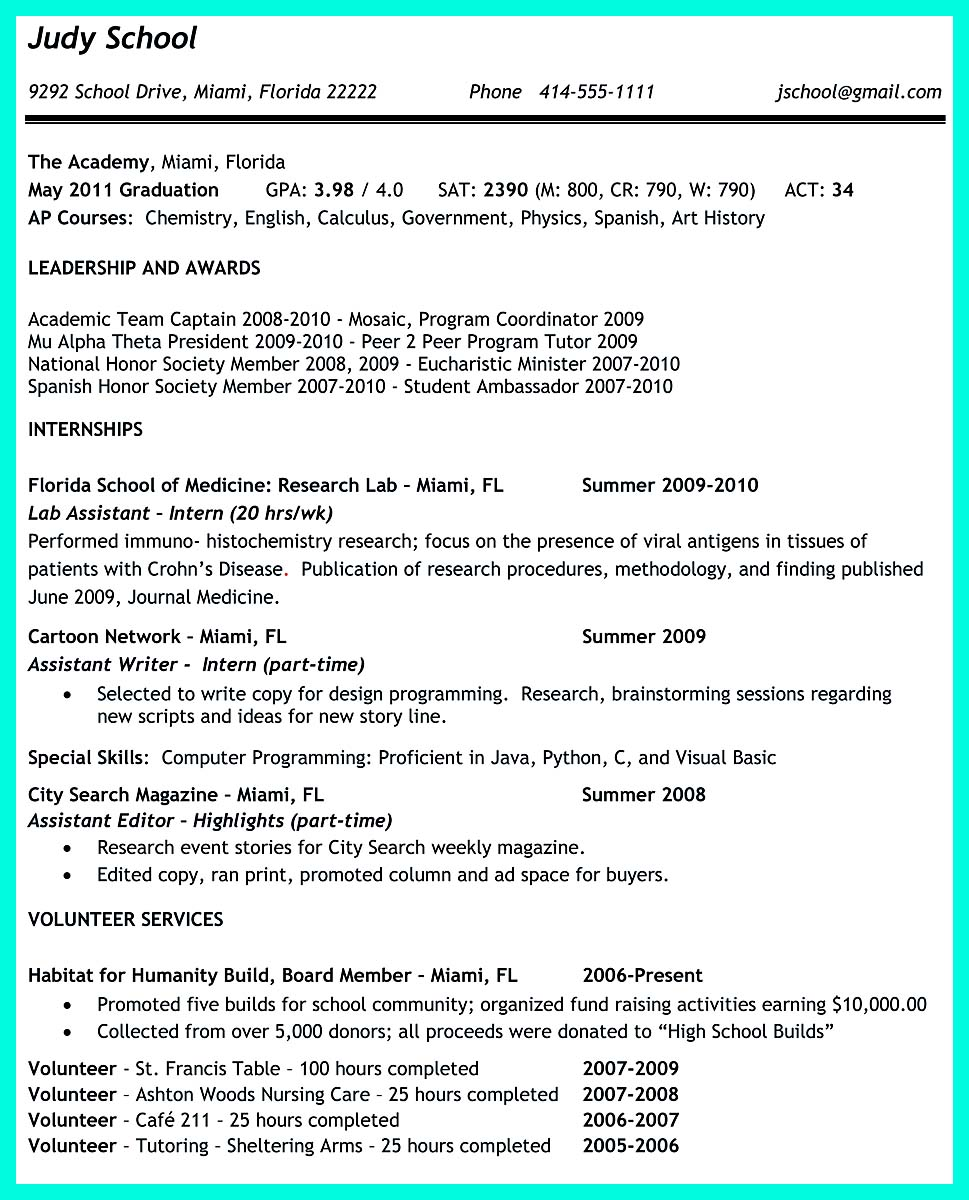 ... College Application Resume Creator ...  How To Make A Resume For College