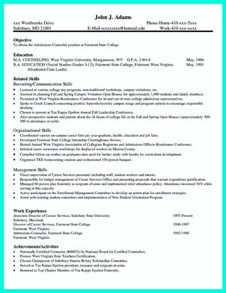 Resume for admission in university