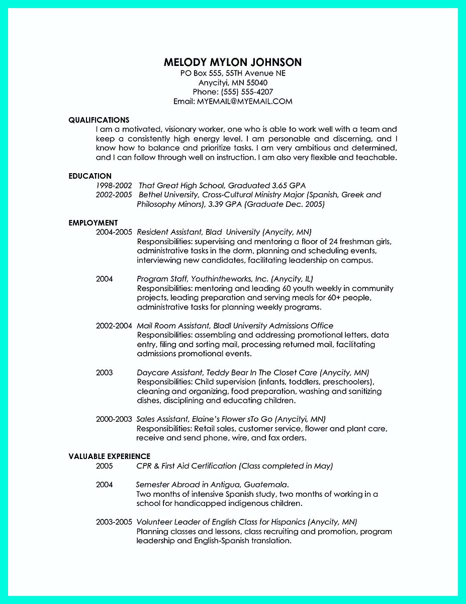 College graduate sample resume