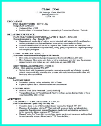 job resume template sample curriculum vitae college student