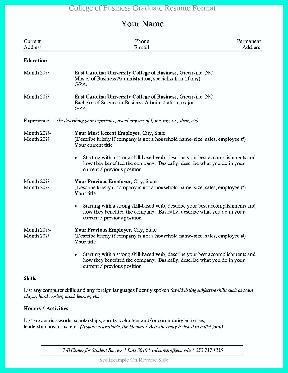 college resume template for internship