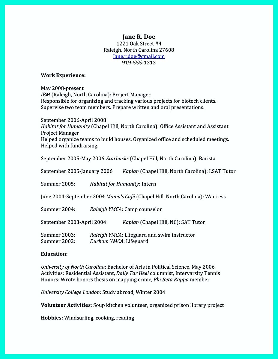 college resume template with no work experience