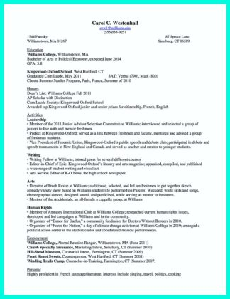 college student resume accounting