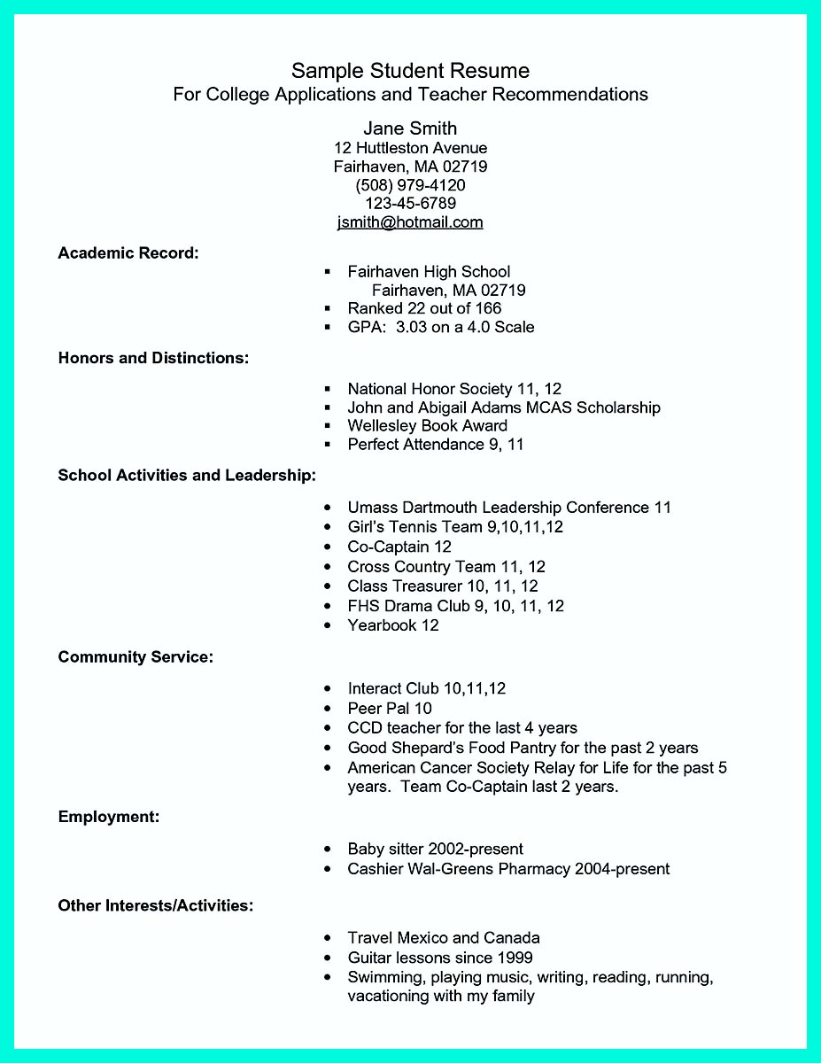 college student resume advice