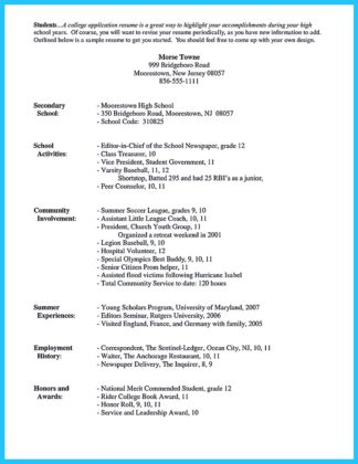college student resume building