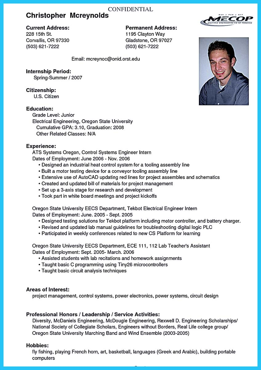 Best Current College Student Resume