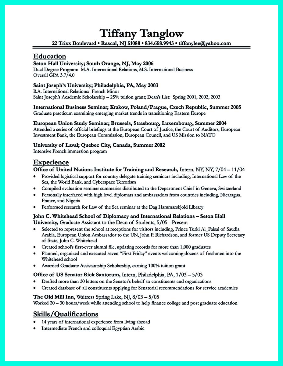 Best college student resume example to get job instantly for Resume samples for it company