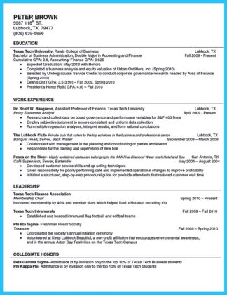 college student resume double major